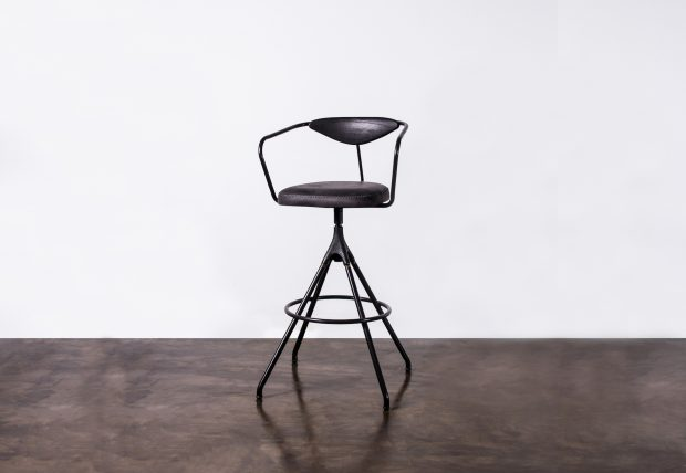 AKRON BAR STOOL WITH BACKREST & LEATHER SEAT 1