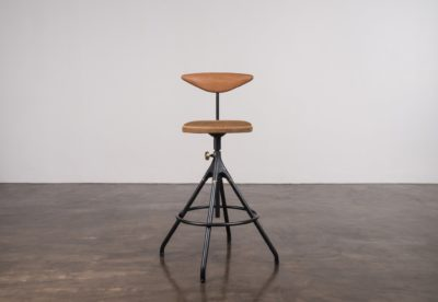 AKRON COUNTER STOOL WITH BACKREST AND LEATHER SEAT