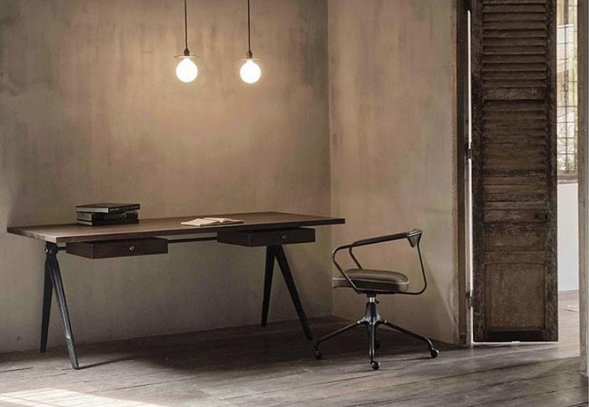Compass desk smoked oak