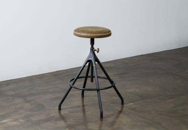 Akron Jin leather seat and iron bar stool