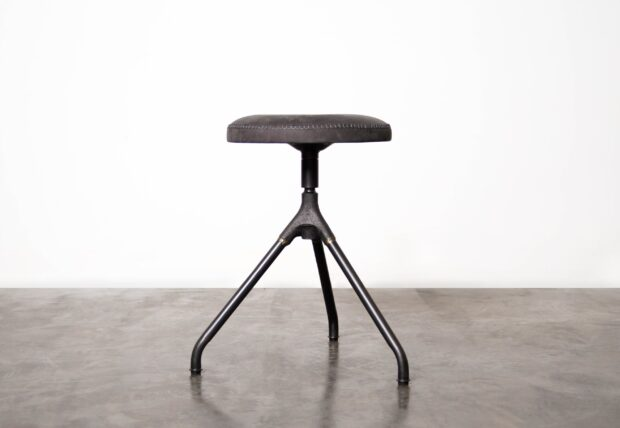 Akron low stool with Leather seat and iron base