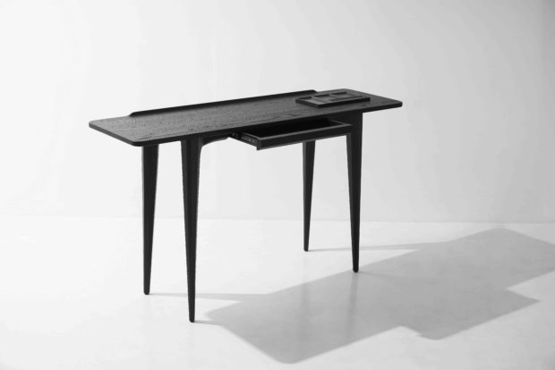 salk console table charred black oak