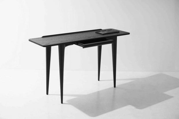 salk console table charred black oak