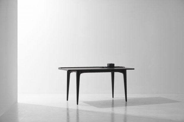 SALK desk charred black oak concrete legs