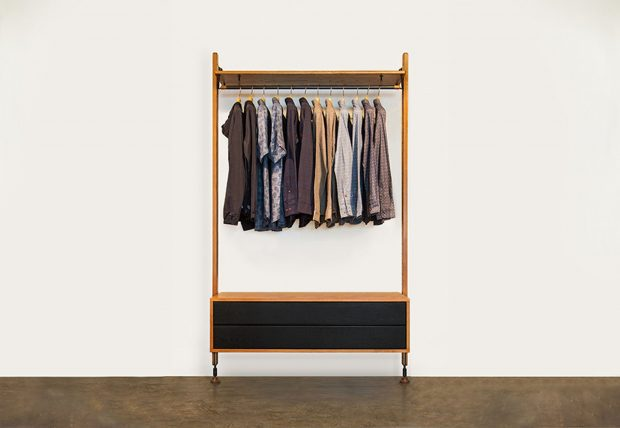 Theo Clothing rail with drawer hard fumed