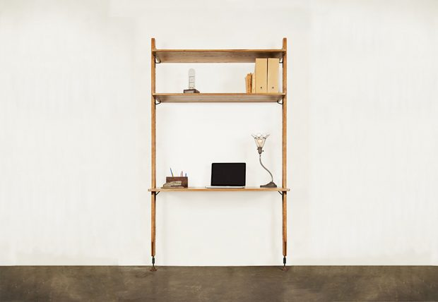 Theo wall unit with desk hard fumed