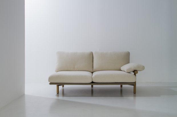 Stilt 2 seater sofa raw oak